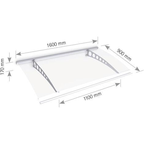 Vordach Haustürdach Edelstahl Polycarbonat klar 1600x900 Überdachung Türdach