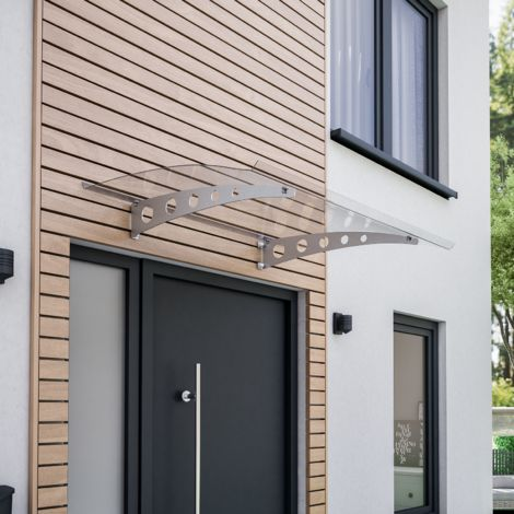 Vordach Haustürdach silber Polycarbonat klar 1400x900 Überdachung Türdach