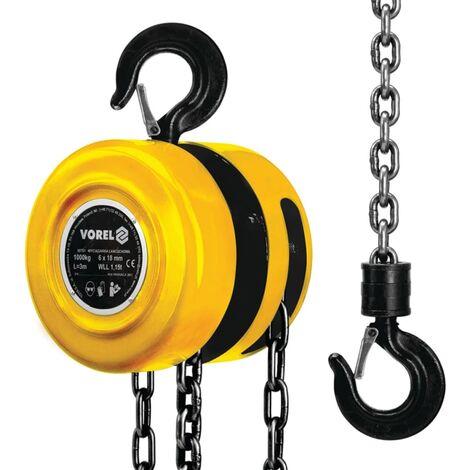 VOREL Polea de Cadena 1 Pieza 1000 kg Material Acero Color Amarilla 80751