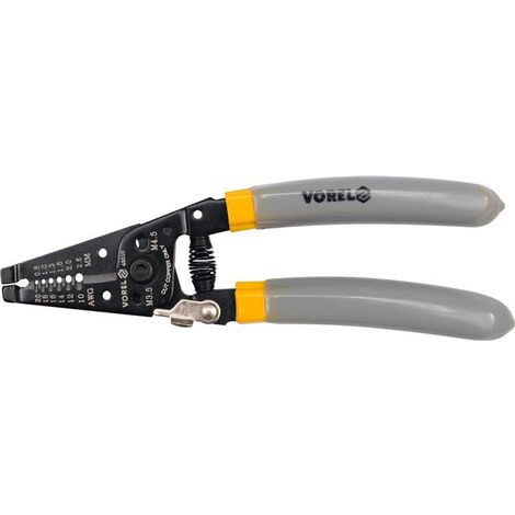 Vorel wire cable stripper 185 mm long, cutter, 0.64-2.6 mm, 22-10 AWG (45010)