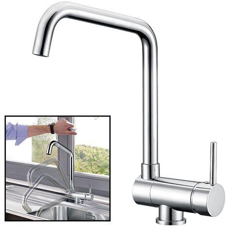 Vorfenster Küchenarmatur - Wasserhahn Küche zur Vorfenstermontage, Hoher Auslauf(250mm) Einhand-Spültischbatterie 360° Schwenkbar Mischbatterie Armatur für Küche Chrom