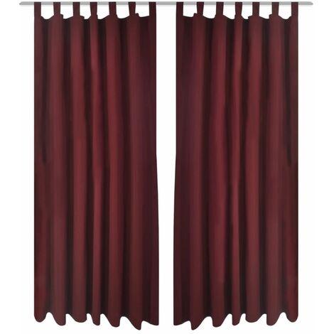 Vorhänge Gardienen aus Satin 2-teilig 140 x 245 cm Dunkelrot