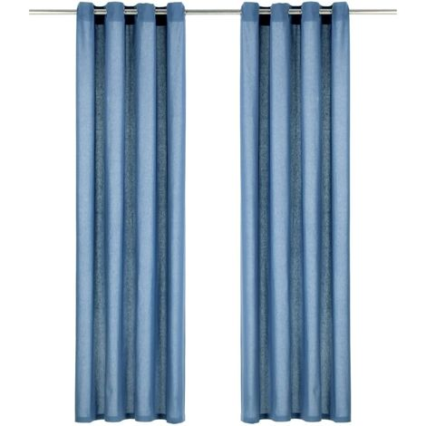 Vorhänge mit Metallösen 2 Stk. Baumwolle 140 x 175 cm Blau