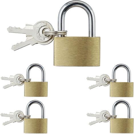 Vorhängeschloss, 5er Set mit 10 Schlüsseln, 35 mm hoch, Kofferschloss oder Spindschloss, aus Stahl, Gold