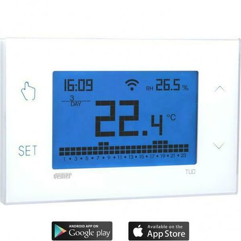Votre chronothermostat wifi touch wall chronothermostat avec programmation hebdomadaire couleur blanche ve772000