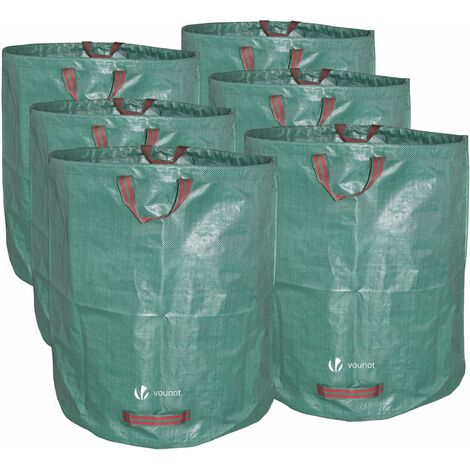 VOUNOT 272L Large Garden Waste Bags with Handles, Green, 6pcs