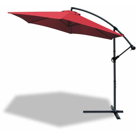 VOUNOT 3m Cantilever Garden Parasol, Banana Patio Umbrella with Crank Handle and Tilt