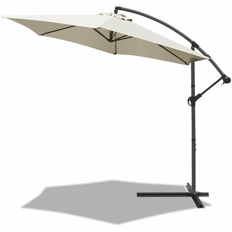 VOUNOT 3m Cantilever Garden Parasol, Banana Patio Umbrella with Crank Handle and Tilt, Red