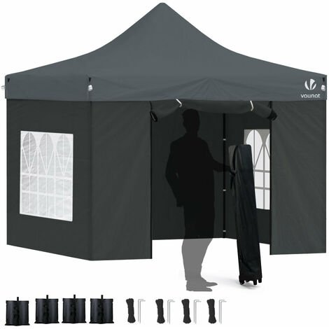 """main image of """"VOUNOT 3x3m Heavy Duty Gazebo with 4 Sides, Pop up Gazebo Fully Waterproof Party Tent with Roller Bag and Leg Weights, Grey"""""""