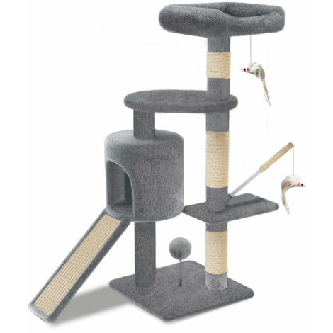 VOUNOT Cat Tree Tower, Cat Condo with Sisal Scratching Post, Grey, L