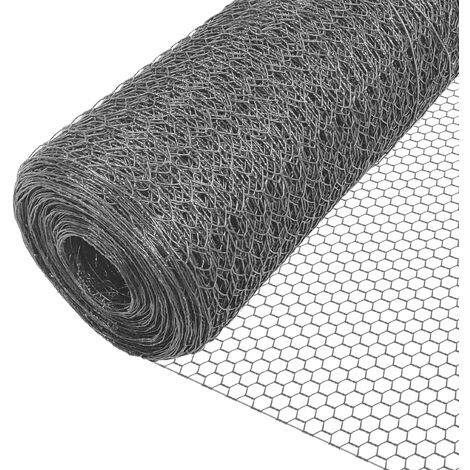 VOUNOT Chicken Wire Mesh, 25mm Holes, Metal Animal Fence, 1m x 25m PVC Coated Grey