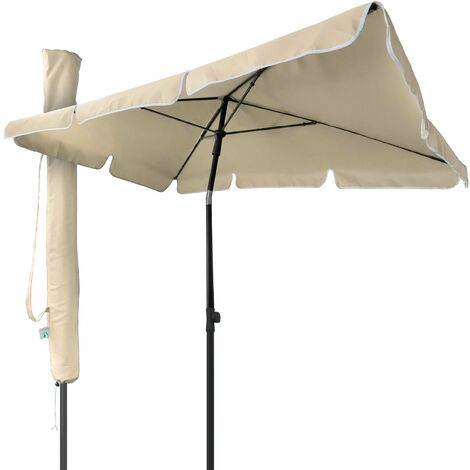 VOUNOT Garden Parasol, Tilt Balcony Umbrella with Cover, 2 x 1.25m Beige