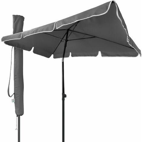 VOUNOT Garden Parasol, Tilt Balcony Umbrella with Cover, 2 x 1.25m Beige