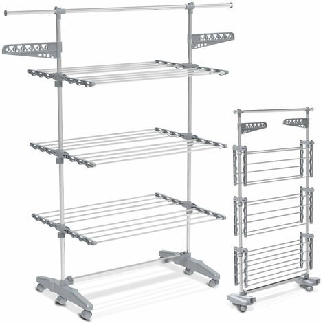 """main image of """"VOUNOT Large 3 Tier Clothes Airer, Laundry Drying Rack Foldable Stainless Steel Clothes Horse"""""""