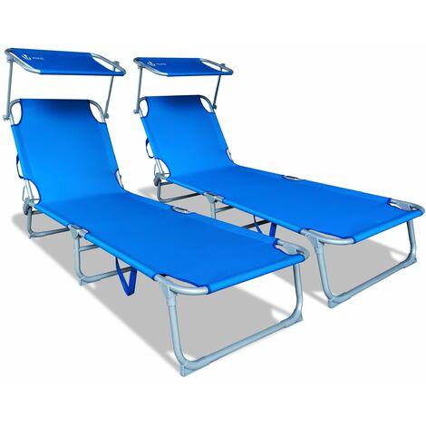 VOUNOT Set of 2 Folding Sun Loungers with Adjustable Backrest & Sunshade, Load 110 kg