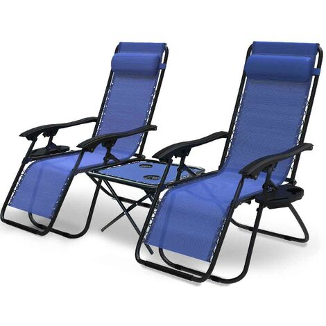 VOUNOT Zero Gravity Chair and Matching Table, Reclining Sun Loungers with Cup & Phone Holder, Blue, 3pcs