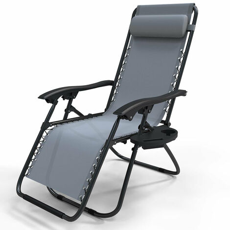 VOUNOT Zero Gravity Sun Loungers, with Cup Holder and Phone Hoder, Grey, 2pcs