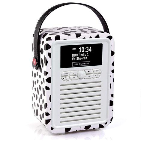 VQ Retro Mini DAB+ FM Radio with Bluetooth Speaker - Lulu Guinness Black Lip