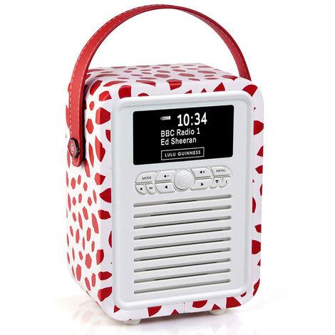 VQ Retro Mini DAB+ FM Radio with Bluetooth Speaker - Lulu Guinness Red Lip
