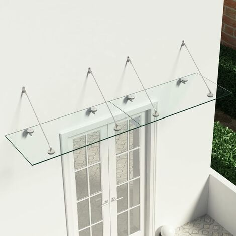 VSG Safety Glass Canopy Front Door 240x60 cm Stainless Steel - Transparent
