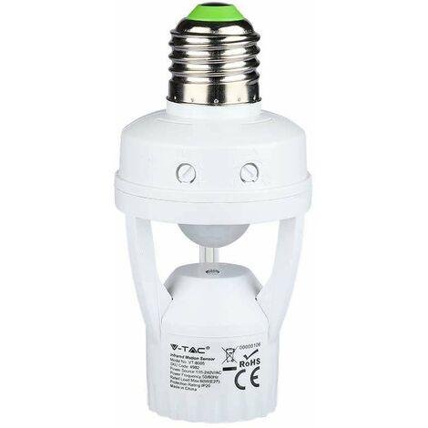 Detector de movimiento con sensor infrarrojo y crepuscular para bombilla E27