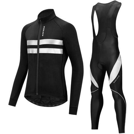 Vtt Equitation Velo Costume Salopette Chaude En Polaire Jersey A Manches Longues, Le Code Blanc 3Xl