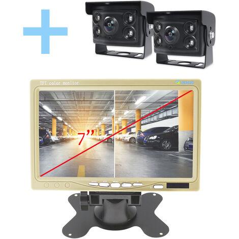 """Vue arrière et marche arrière Yatek pour tous les types de véhicules, écran 7"""" au choix en deux couleurs, comprend 2 caméras de 170º degré angulaire avec vision nocturne."""