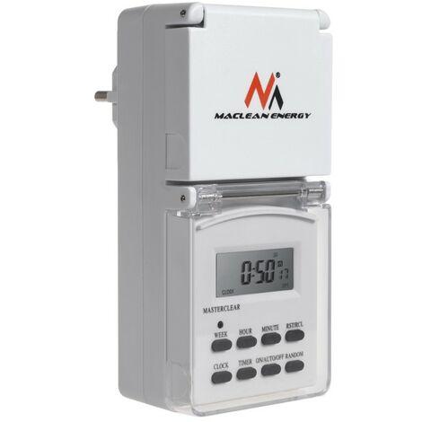 Vue horloge numérique Maclean Energy MCE08G 10 programmes fonction aléatoire 3600 max 156 programmes
