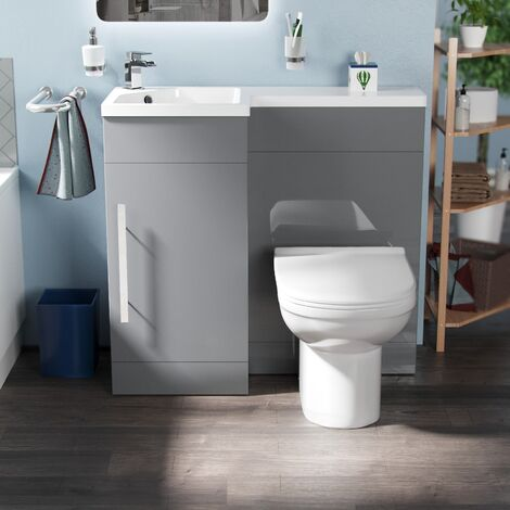 Vuno 900mm LH Light Grey Bathroom Basin Combination Vanity Unit - Eslo Back To Wall Toilet