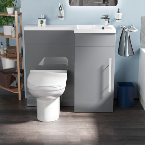 Vuno 900mm RH Light Grey Bathroom Basin Combination Vanity Unit - Eslo Back To Wall Toilet