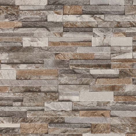 VXC-047-01-9 Brick Effect Wallpaper 3D Slate Stone Wall Textured Vinyl Brown Grey Beige