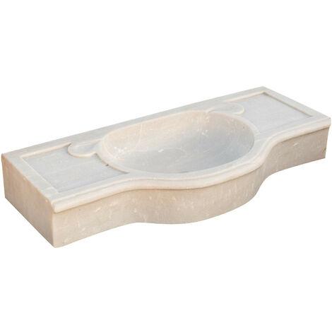 W100xDP46xH15 cm sized white marble sink