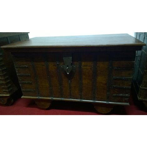 W116xDP63xH71 cm sized old wood and iron made treasure chest