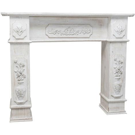 W121xDP28xH96 cm sized wood made antiqued white finish fireplace frame