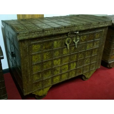 W125xDP68xH93cm sized old wood and iron made coffer