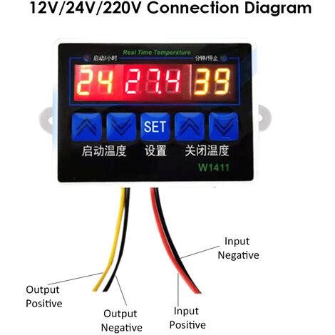 W1411 Controleur Intelligent De Temperature Numerique Ntc Capteur Temp Thermostat Pour Refrigerateur Congelateur D'Incubation, 12V