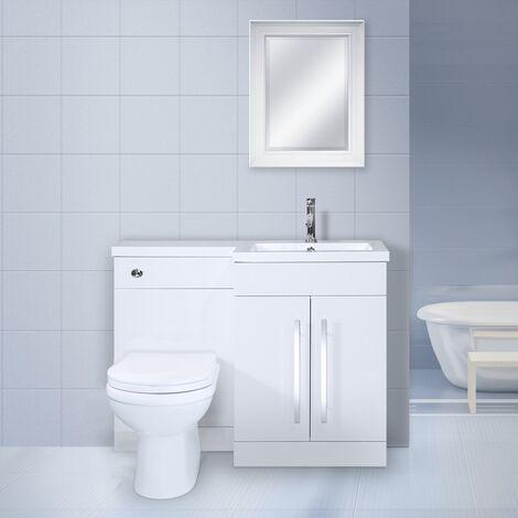 Wade White L Shape WC Bathroom Vanity Suite Unit Toilet - 1100mm