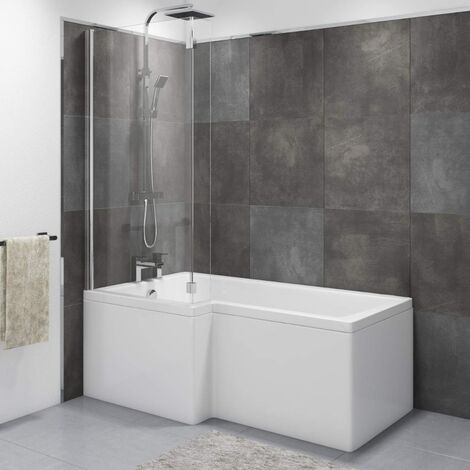 Wadley Modern Bathroom L-shape Shower Left Hand Bath Screen And Front Panel