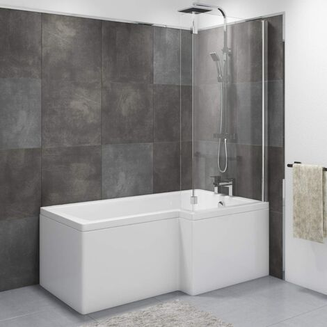 Wadley Modern Bathroom L-shape Shower Right Hand Bath Screen And Front Panel