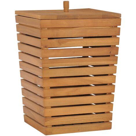 Wäschekorb 30×30×45 cm Teak Massivholz