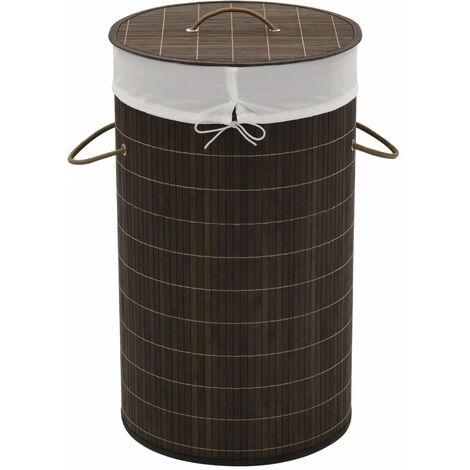 Wäschekorb aus Bambus Rund Dunkelbraun