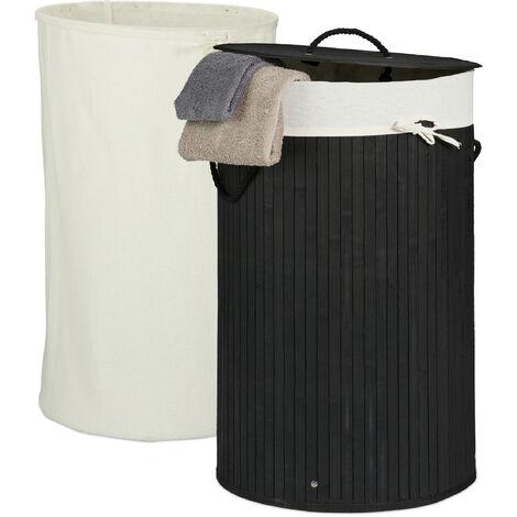 Wäschekorb Bambus, faltbarer Wäschesammler mit Deckel, 70 L, tragbar, 2 Wäschesäcke, rund Ø 41,5 cm, schwarz