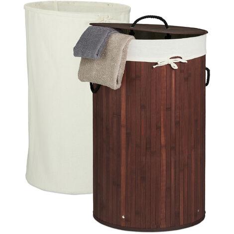 Wäschekorb Bambus, faltbarer Wäschesammler mit Deckel, 70 Liter, tragbar, 2 Wäschesäcke, rund Ø 41,5 cm, braun