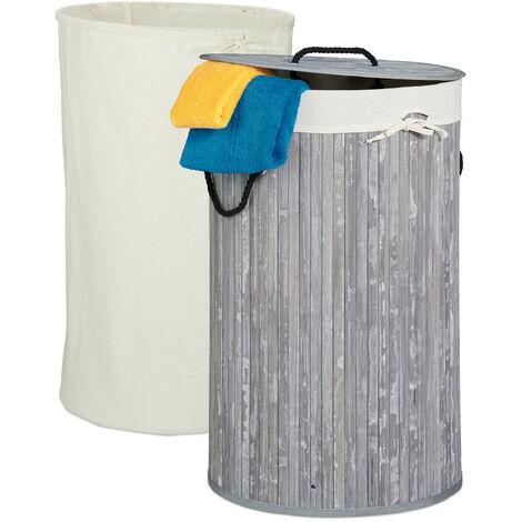 Wäschekorb Bambus, faltbarer Wäschesammler mit Deckel, 70 Liter, tragbar, 2 Wäschesäcke, rund Ø 41,5 cm, grau