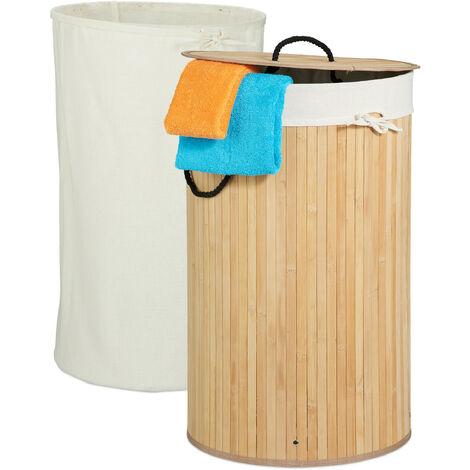 Wäschekorb Bambus, faltbarer Wäschesammler mit Deckel, 70 Liter, tragbar, 2 Wäschesäcke, rund Ø 41,5 cm, natur