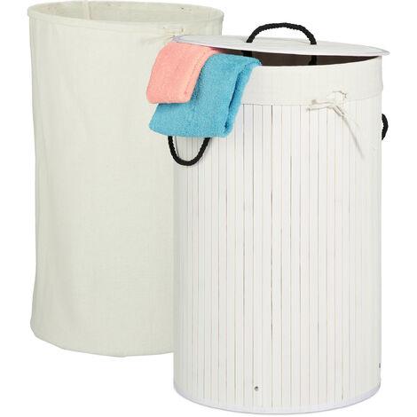 Wäschekorb Bambus, faltbarer Wäschesammler mit Deckel, 70 Liter, tragbar, 2 Wäschesäcke, rund Ø 41,5 cm, weiß