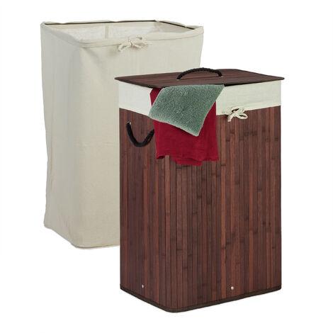 Wäschekorb Bambus, faltbarer Wäschesammler mit Deckel, 80 L, rechteckig, 2 Wäschesäcke, 66 x 44 x 34 cm, braun
