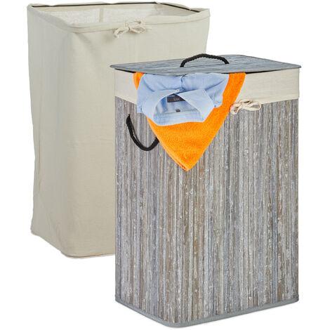 Wäschekorb Bambus, faltbarer Wäschesammler mit Deckel, 80 L, rechteckig, 2 Wäschesäcke, 66 x 44 x 34 cm, grau