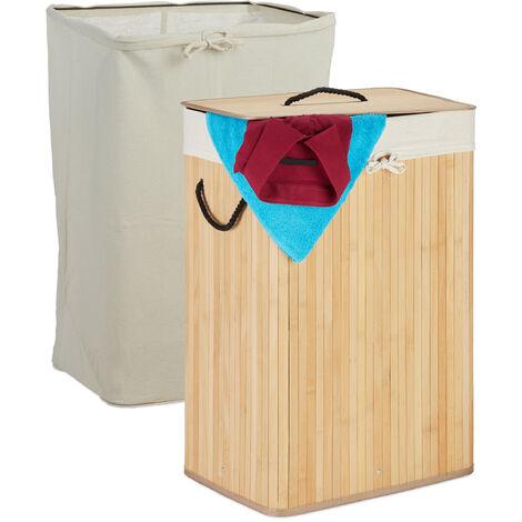Wäschekorb Bambus, faltbarer Wäschesammler mit Deckel, 80 L, rechteckig, 2 Wäschesäcke, 66 x 44 x 34 cm, natur