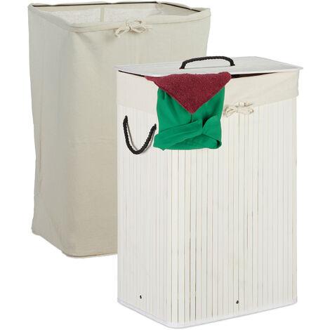 Wäschekorb Bambus, faltbarer Wäschesammler mit Deckel, 80 L, rechteckig, 2 Wäschesäcke, 66 x 44 x 34 cm, weiß